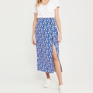 Abercrombie & Fitch Blue Midi Skirt
